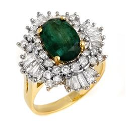 3.90 CTW Emerald & Diamond Ring 14K Yellow Gold - REF-143N6Y - 13284