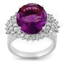 8.18 CTW Amethyst & Diamond Ring 18K White Gold - REF-129N3Y - 11160