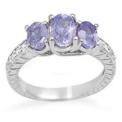 2.50 CTW Tanzanite & Diamond Ring 14K White Gold - REF-60M5H - 10776