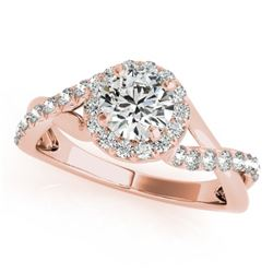 0.75 CTW Certified VS/SI Diamond Solitaire Halo Ring 18K Rose Gold - REF-100F9N - 26662