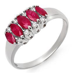 0.77 CTW Ruby & Diamond Ring 18K White Gold - REF-37K3W - 12337