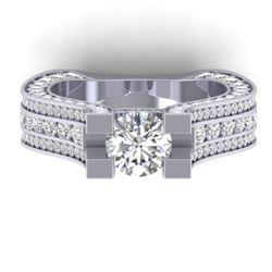 4.5 CTW Certified VS/SI Diamond Art Deco Micro Ring 14K White Gold - REF-572N4Y - 30285