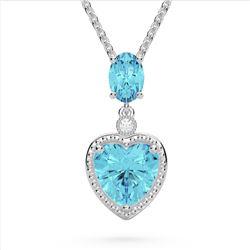 4 CTW Sky Blue Topaz & VS/SI Diamond Heart Necklace 10K White Gold - REF-26X2T - 22526