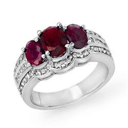 3.50 CTW Ruby & Diamond Ring 14K White Gold - REF-110A2X - 14394