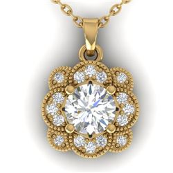 0.75 CTW I-SI Diamond Solitaire Art Deco Necklace 14K Yellow Gold - REF-104K8W - 30518