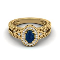 0.83 CTW Sapphire & VS/SI Diamond Solitaire Halo Fashion Ring 10K Yellow Gold - REF-25M8H - 20842