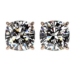 2.50 CTW Certified VS/SI Quality Cushion Cut Diamond Stud Earrings 10K Rose Gold - REF-840M2H - 3311