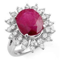 7.21 CTW Ruby & Diamond Ring 18K White Gold - REF-155M8H - 13211