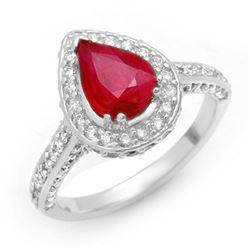 3.10 CTW Ruby & Diamond Ring 14K White Gold - REF-89N5Y - 10702