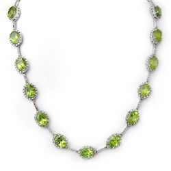 45.0 CTW Peridot & Diamond Necklace 14K White Gold - REF-424A4X - 10314