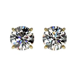 1.09 CTW Certified H-SI/I Quality Diamond Solitaire Stud Earrings 10K Yellow Gold - REF-94X5T - 3658