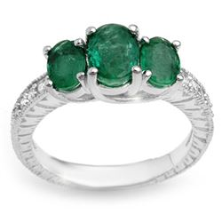 2.50 CTW Emerald & Diamond Ring 14K White Gold - REF-54W5F - 10771