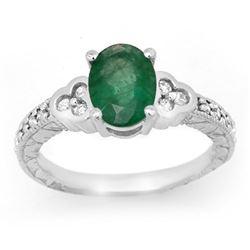 2.29 CTW Emerald & Diamond Ring 14K White Gold - REF-62A4X - 13816