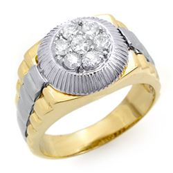 0.75 CTW Certified VS/SI Diamond Men's Ring 18K 2-Tone Gold - REF-138W4F - 14422