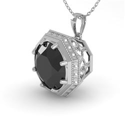 1 CTW Black Diamond Solitaire Necklace 18K White Gold - REF-50H9A - 35997