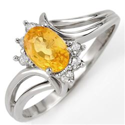 0.70 CTW Yellow Sapphire & Diamond Ring 18K White Gold - REF-33K6W - 10645