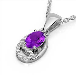 1.25 CTW Amethyst & Micro VS/SI Diamond Necklace 10K White Gold - REF-18M9H - 22341