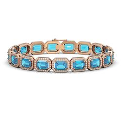 23.66 CTW Swiss Topaz & Diamond Halo Bracelet 10K Rose Gold - REF-311F3N - 41412