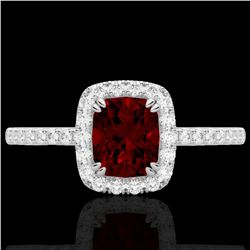 1.25 CTW Garnet & Micro Pave VS/SI Diamond Halo Ring 10K White Gold - REF-33Y3K - 22903