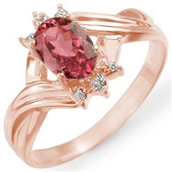 0.79 CTW Pink Tourmaline & Diamond Ring 14K Rose Gold - REF-28T2M - 11424