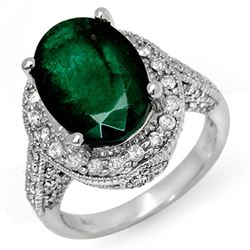6.50 CTW Emerald & Diamond Ring 18K White Gold - REF-122T2M - 11897