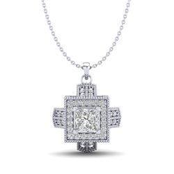0.84 CTW Princess VS/SI Diamond Micro Pave Necklace 18K White Gold - REF-149W3F - 37190