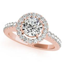0.76 CTW Certified VS/SI Diamond Solitaire Halo Ring 18K Rose Gold - REF-128X8T - 26327