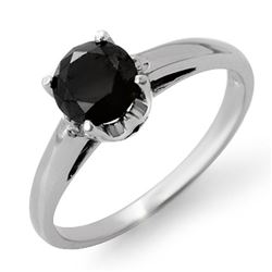 1.0 CTW VS Certified Black Diamond Solitaire Ring 14K White Gold - REF-41W8F - 11792