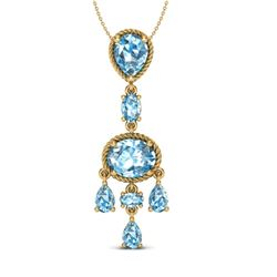 8 CTW Sky Blue Topaz Necklace Designer Vintage 10K Yellow Gold - REF-34K4W - 20397