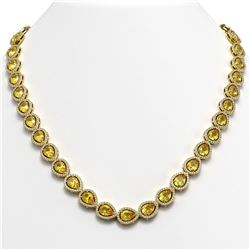 33.35 CTW Fancy Citrine & Diamond Halo Necklace 10K Yellow Gold - REF-590H5A - 41086