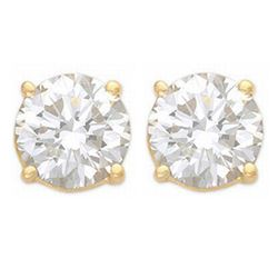 1.0 CTW Certified VS/SI Diamond Solitaire Stud Earrings 14K Yellow Gold - REF-178A2X - 12800