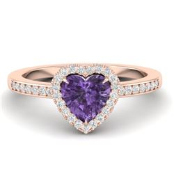 1 CTW Amethyst & Micro Pave Ring Heart Halo 14K Rose Gold - REF-33A6X - 21399