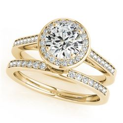 0.86 CTW Certified VS/SI Diamond 2Pc Wedding Set Solitaire Halo 14K Yellow Gold - REF-135X6T - 30806