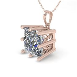 1 CTW VS/SI Princess Diamond Solitaire Necklace 18K Rose Gold - REF-285T2M - 35867