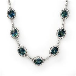 31.0 CTW Blue Sapphire & Diamond Necklace 14K White Gold - REF-275Y8K - 10468