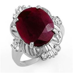 6.70 CTW Ruby & Diamond Ring 18K White Gold - REF-118Y2K - 12725
