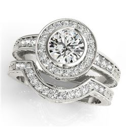 1.3 CTW Certified VS/SI Diamond 2Pc Wedding Set Solitaire Halo 14K White Gold - REF-228X8T - 31046