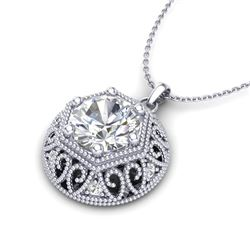 1.11 CTW VS/SI Diamond Solitaire Art Deco Stud Necklace 18K White Gold - REF-298T2M - 36923