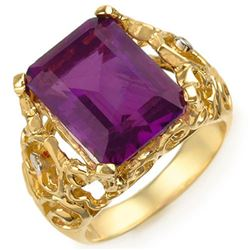 8.03 CTW Amethyst & Diamond Ring 10K Yellow Gold - REF-42Y9K - 10916
