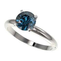1.55 CTW Certified Intense Blue SI Diamond Solitaire Engagement Ring 10K White Gold - REF-240A2X - 3