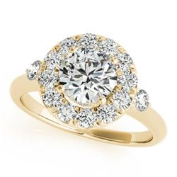 1.5 CTW Certified VS/SI Diamond Solitaire Halo Ring 18K Yellow Gold - REF-404T4M - 26313