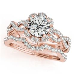1.93 CTW Certified VS/SI Diamond 2Pc Wedding Set Solitaire Halo 14K Rose Gold - REF-420F4N - 31185