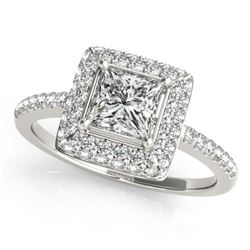 1.5 CTW Certified VS/SI Princess Diamond Solitaire Halo Ring 18K White Gold - REF-381M8H - 27144
