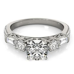 2 CTW Certified VS/SI Diamond Pave Solitaire Ring 18K White Gold - REF-452Y2K - 28107
