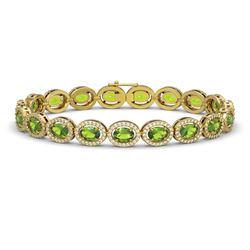 13.87 CTW Peridot & Diamond Halo Bracelet 10K Yellow Gold - REF-251K6W - 40480