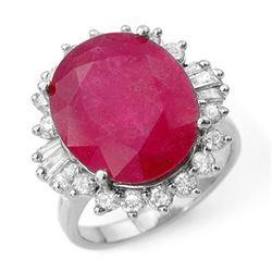 13.12 CTW Ruby & Diamond Ring 18K White Gold - REF-146K2W - 12944
