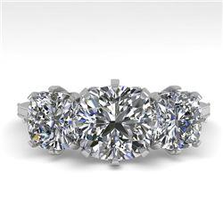 2 CTW Solitaire Past Present Future VS/SI Cushion Diamond Ring 18K White Gold - REF-414W2F - 35787