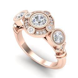 1.51 CTW VS/SI Diamond Solitaire Art Deco 3 Stone Ring 18K Rose Gold - REF-300X2T - 36987