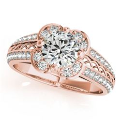 1.5 CTW Certified VS/SI Diamond Solitaire Halo Ring 18K Rose Gold - REF-399X8T - 26911