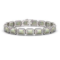 16.86 CTW Opal & Diamond Halo Bracelet 10K White Gold - REF-334K8W - 41393